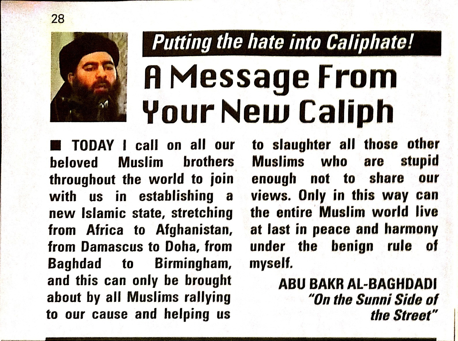 Message from New Caliph