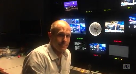 Tim Latham in the control room