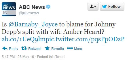 abc news barnaby joyce depp tweet