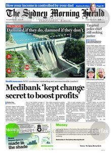 Sydne morning herald frontpage